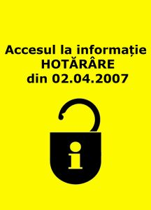 Book Cover: Accesul la informație (hotărîre din 02_04_2007)